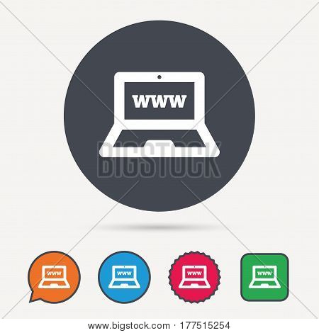 Computer icon. Notebook or laptop pc symbol. Circle, speech bubble and star buttons. Flat web icons. Vector