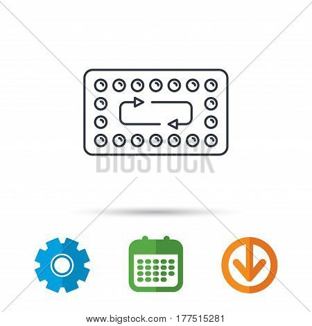 Contraception pills icon. Pharmacology drugs sign. Calendar, cogwheel and download arrow signs. Colored flat web icons. Vector