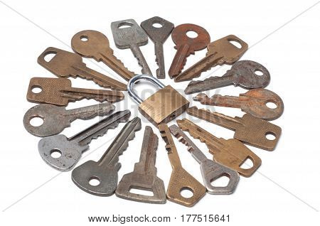 Keys and lock on a white background