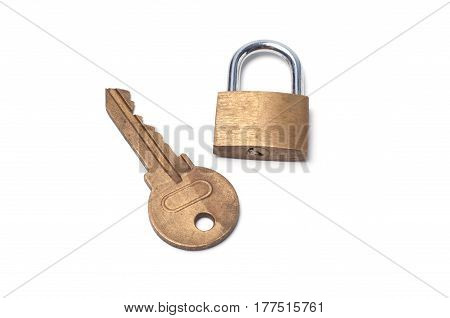 A small padlock and a big key on a white background