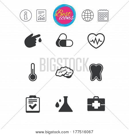 Information, report and calendar signs. Medicine, healthcare and diagnosis icons. Tooth, pills and doctor case signs. Neurology, blood test symbols. Classic simple flat web icons. Vector
