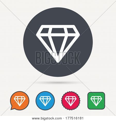 Diamond icon. Jewelry gem symbol. Brilliant jewel sign. Circle, speech bubble and star buttons. Flat web icons. Vector