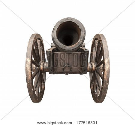 Antique cannon isolated on a white background.