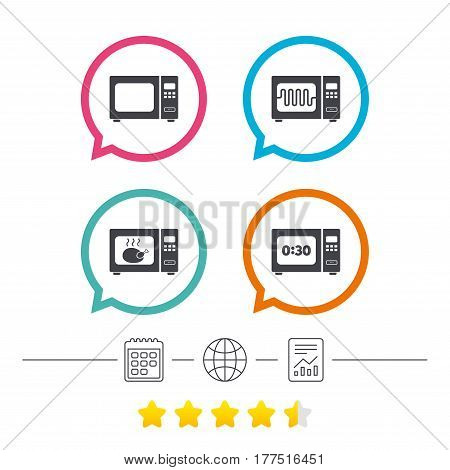 Microwave oven icons. Cook in electric stove symbols. Grill chicken with timer signs. Calendar, internet globe and report linear icons. Star vote ranking. Vector