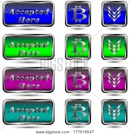 The vector set of buttons with bit-coin symbol.Accepted here