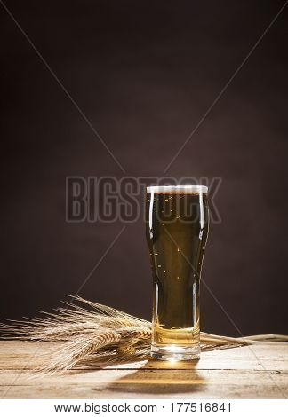 Beer Mug On Brown Background