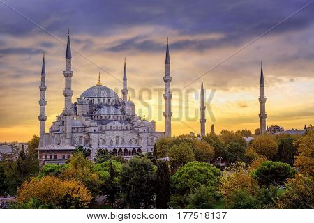 Blue Mosque Sultanahmet, Istanbul, Turkey, On Sunset