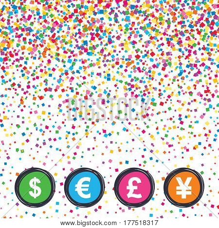 Web buttons on background of confetti. Dollar, Euro, Pound and Yen currency icons. USD, EUR, GBP and JPY money sign symbols. Bright stylish design. Vector