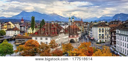 Panoramic View Of Lucerne Old Town, Switzerland