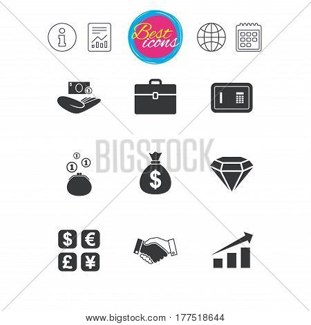 Information, report and calendar signs. Money, cash and finance icons. Handshake, safe and currency exchange signs. Chart, case and jewelry symbols. Classic simple flat web icons. Vector