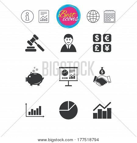 Information, report and calendar signs. Money, cash and finance icons. Handshake, piggy bank and currency exchange signs. Chart, auction and businessman symbols. Classic simple flat web icons. Vector