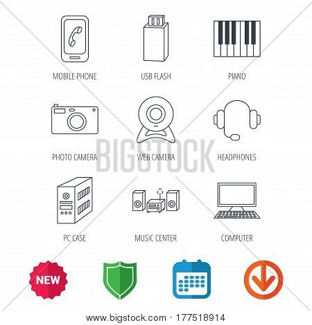 Photo camera, headphones and Usb flash icons. PC case, computer with monitor and web camera linear signs. Piano icons. New tag, shield and calendar web icons. Download arrow. Vector