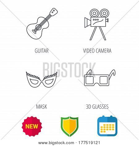 Guitar music, video camera and theatre mask icons. 3d glasses linear sign. Shield protection, calendar and new tag web icons. Vector