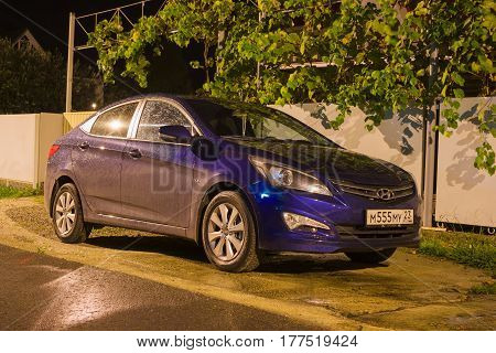 Sochi, Russia - October 09, 2016: New Hyundai Elantra (Avante) parked on the street at night.