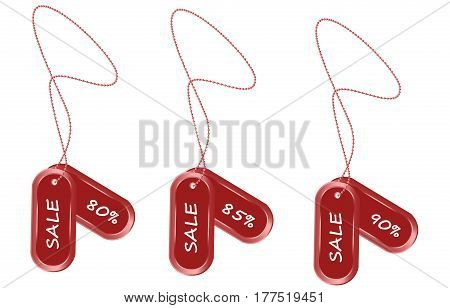 Vector drawing of a tag with an interest discount for the sale of goods