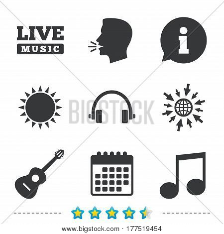 Musical elements icons. Musical note key and Live music symbols. Headphones and acoustic guitar signs. Information, go to web and calendar icons. Sun and loud speak symbol. Vector