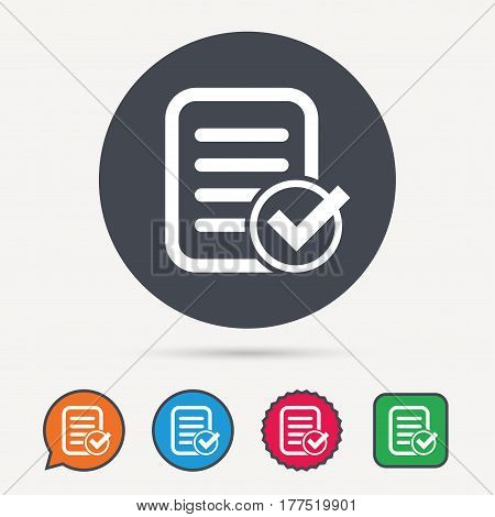 File selected icon. Document page with check symbol. Circle, speech bubble and star buttons. Flat web icons. Vector
