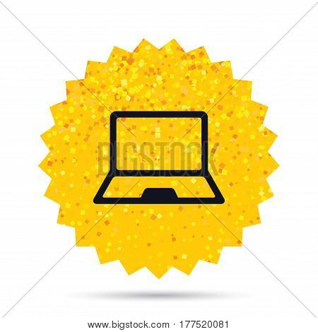 Gold glitter web button. Laptop sign icon. Notebook pc symbol. Rich glamour star design. Vector