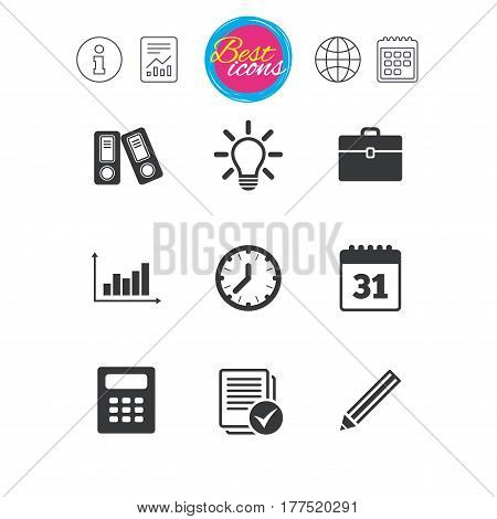 Information, report and calendar signs. Office, documents and business icons. Accounting, calculator and case signs. Ideas, calendar and statistics symbols. Classic simple flat web icons. Vector