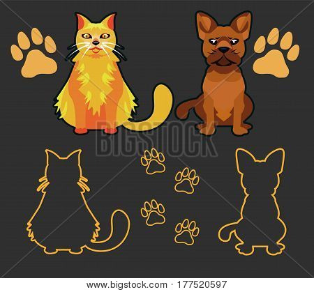 Vector set of dog and cat silhouettes. Cat and dog looking forward in a cartoon style. Footprint silhouette.