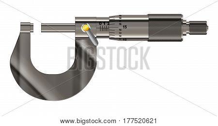 The precision engineering measuring tool the micrometer over a white background