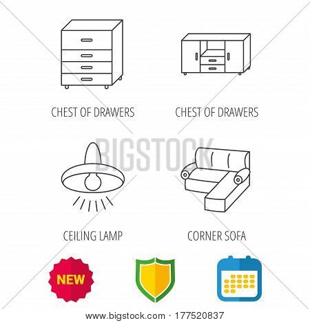 Corner sofa, ceiling lamp and chest of drawers icons. Furniture linear signs. Shield protection, calendar and new tag web icons. Vector