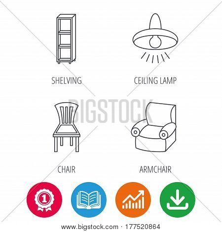 Chair, ceiling lamp and armchair icons. Shelving linear sign. Award medal, growth chart and opened book web icons. Download arrow. Vector
