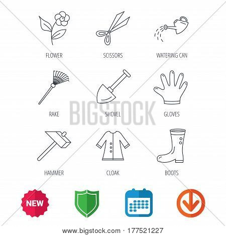 Scissors, hammer and gloves icons. Shovel, watering can and rake linear signs. Cloak, boots and flower flat line icons. New tag, shield and calendar web icons. Download arrow. Vector
