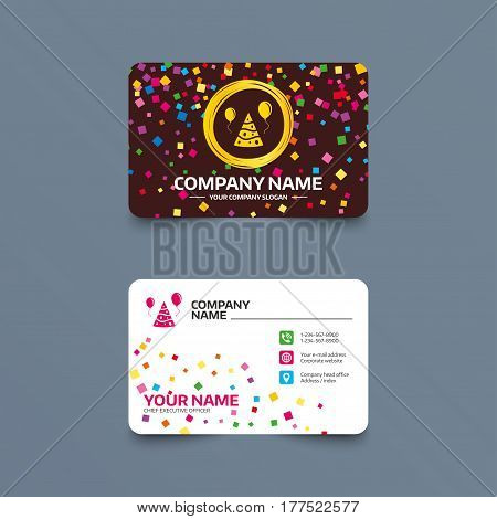 Business card template with confetti pieces. Party hat sign icon. Birthday celebration symbol. Air balloon with rope. Phone, web and location icons. Visiting card  Vector