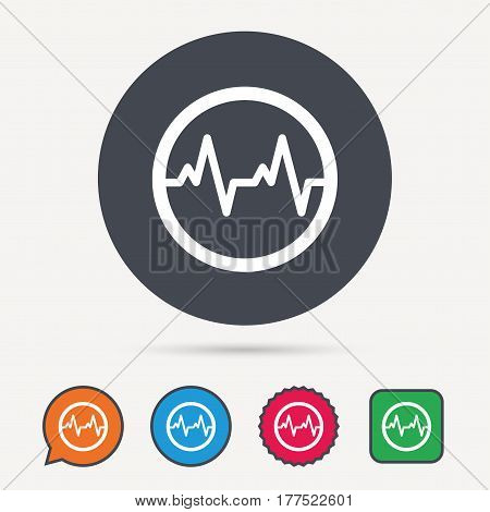 Heartbeat icon. Cardiology symbol. Medical pressure sign. Circle, speech bubble and star buttons. Flat web icons. Vector