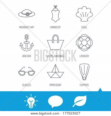 Paper boat, shell and swimsuit icons. Lifebuoy, glases and women hat linear signs. Anchor, ladies handbag icons. Light bulb, speech bubble and leaf web icons. Vector