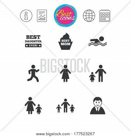 Information, report and calendar signs. People, family icons. Swimming pool, person signs. Best mom, father and mother symbols. Classic simple flat web icons. Vector