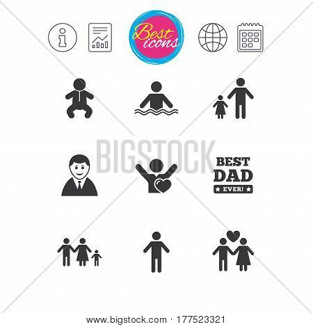 Information, report and calendar signs. People, family icons. Swimming pool, love and children signs. Best dad, father and mother symbols. Classic simple flat web icons. Vector