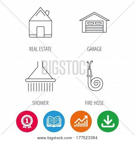 Real estate, garage and shower icons. Fire hose linear sign. Award medal, growth chart and opened book web icons. Download arrow. Vector