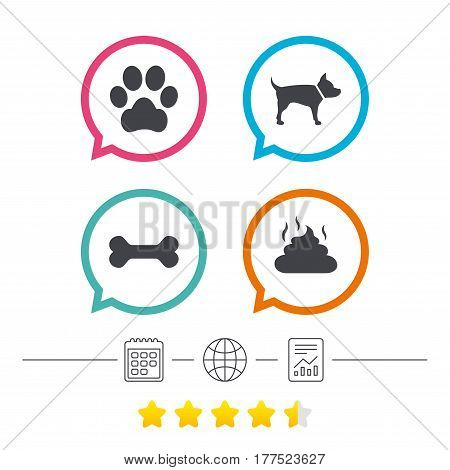 Pets icons. Dog paw and feces signs. Clean up after pets. Pets food. Calendar, internet globe and report linear icons. Star vote ranking. Vector