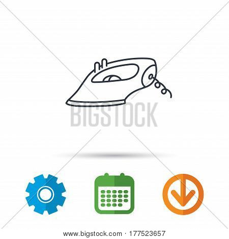 Iron icon. Ironing housework sign. Laundry service symbol. Calendar, cogwheel and download arrow signs. Colored flat web icons. Vector