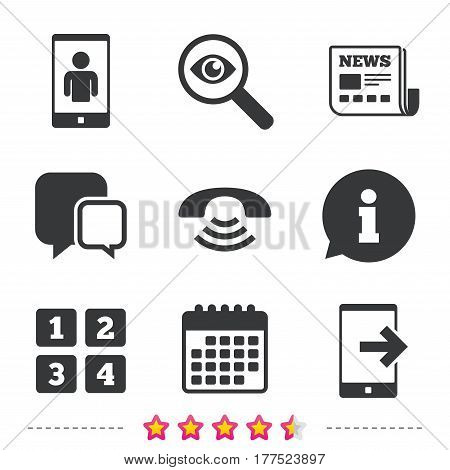 Phone icons. Smartphone video call sign. Call center support symbol. Cellphone keyboard symbol. Newspaper, information and calendar icons. Investigate magnifier, chat symbol. Vector