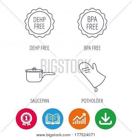 Saucepan, potholder and BPA free icons. DEHP free linear sign. Award medal, growth chart and opened book web icons. Download arrow. Vector