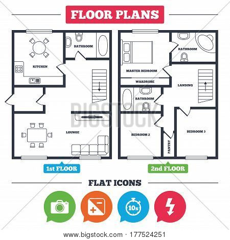 Architecture plan with furniture. House floor plan. Photo camera icon. Flash light and exposure symbols. Stopwatch timer 10 seconds sign. Kitchen, lounge and bathroom. Vector