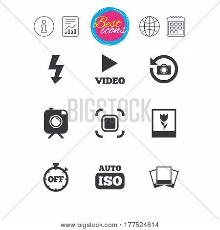 Information, report and calendar signs. Photo, video icons. Camera, photos and frame signs. Flash, timer and macro symbols. Classic simple flat web icons. Vector