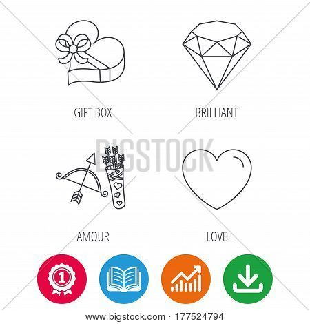 Love heart, brilliant and gift box icons. Amour bow with arrows linear signs. Award medal, growth chart and opened book web icons. Download arrow. Vector