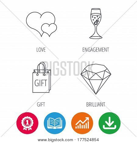Love heart, gift box and wedding ring icons. Brilliant and engagement linear signs. Award medal, growth chart and opened book web icons. Download arrow. Vector