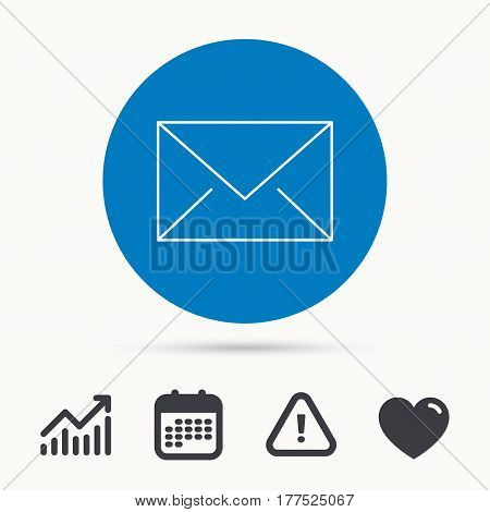 Envelope mail icon. Email message sign. Internet letter symbol. Calendar, attention sign and growth chart. Button with web icon. Vector