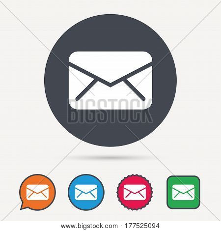 Envelope icon. Send email message sign. Internet mailing symbol. Circle, speech bubble and star buttons. Flat web icons. Vector