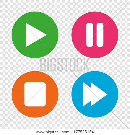Player navigation icons. Play, stop and pause signs. Next song symbol. Round buttons on transparent background. Vector
