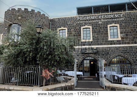 TIBERIAS ISRAEL - FEBRUARY 27 2017: Piligrim's residence in Tiberias. Russian ecclesiastical mission in Jerusalem