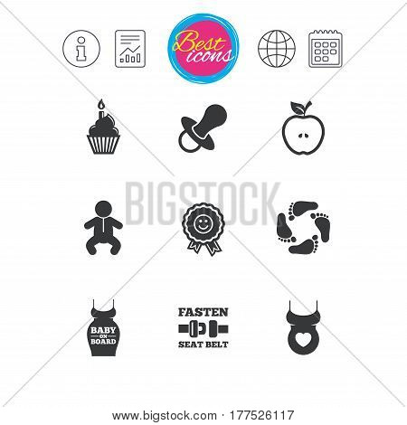 Information, report and calendar signs. Pregnancy, maternity and baby care icons. Apple, award and pacifier signs. Footprint, birthday cake and newborn symbols. Classic simple flat web icons. Vector