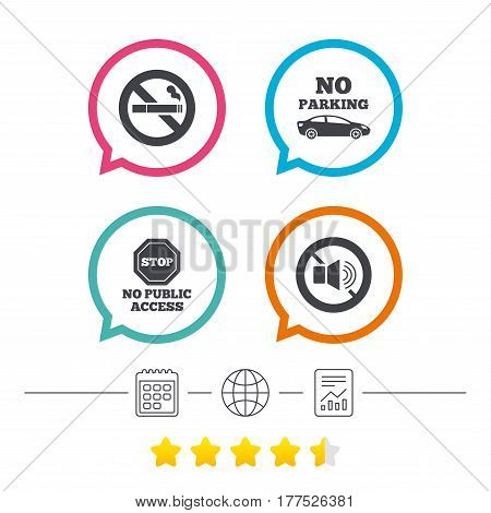 Stop smoking and no sound signs. Private territory parking or public access. Cigarette symbol. Speaker volume. Calendar, internet globe and report linear icons. Star vote ranking. Vector