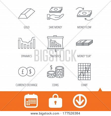 Banking, cash money and statistics icons. Money flow, gold bar and dollar usd linear signs. Dynamics chart, coins and savings icons. Download arrow, locker and calendar web icons. Vector