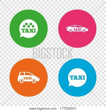 Public transport icons. Taxi speech bubble signs. Car transport symbol. Round buttons on transparent background. Vector